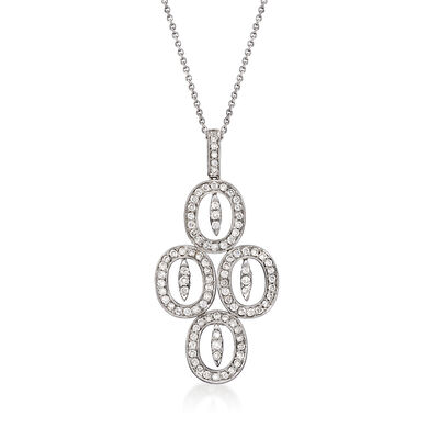 C. 1990 Vintage 1.30 ct. t.w. Diamond Multi-Oval Pendant Necklace in 18kt White Gold