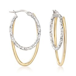 "Italian 14kt Two-Tone Gold Double Hoop Earrings. 1 3/8"", , default"