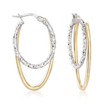 """Italian 14kt Two-Tone Gold Double Hoop Earrings. 1 3/8"""", , default"""