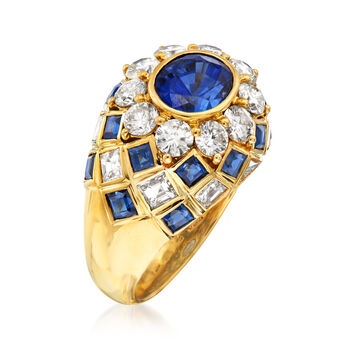 C. 1980 Vintage 4.15 ct. t.w. Sapphire and 2.10 ct. t.w. Diamond Ring in 18kt Yellow Gold. Size 6, , default