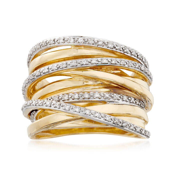 .25 ct. t.w. Diamond Highway Ring in 18kt Gold Over Sterling Silver, , default