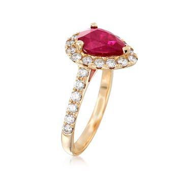 2.20 Carat Pear-Shaped Ruby and .80 ct. t.w. Diamond Ring in 14kt Yellow Gold, , default