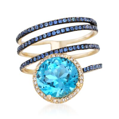 3.80 Carat Blue Topaz and .50 ct. t.w. Sapphire Coil Ring With Diamonds in 14kt Yellow Gold, , default