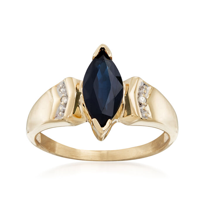 C. 1980 Vintage 1.00 Carat Sapphire Ring With Diamond Accent in 10kt Yellow Gold. Size 5.5, , default
