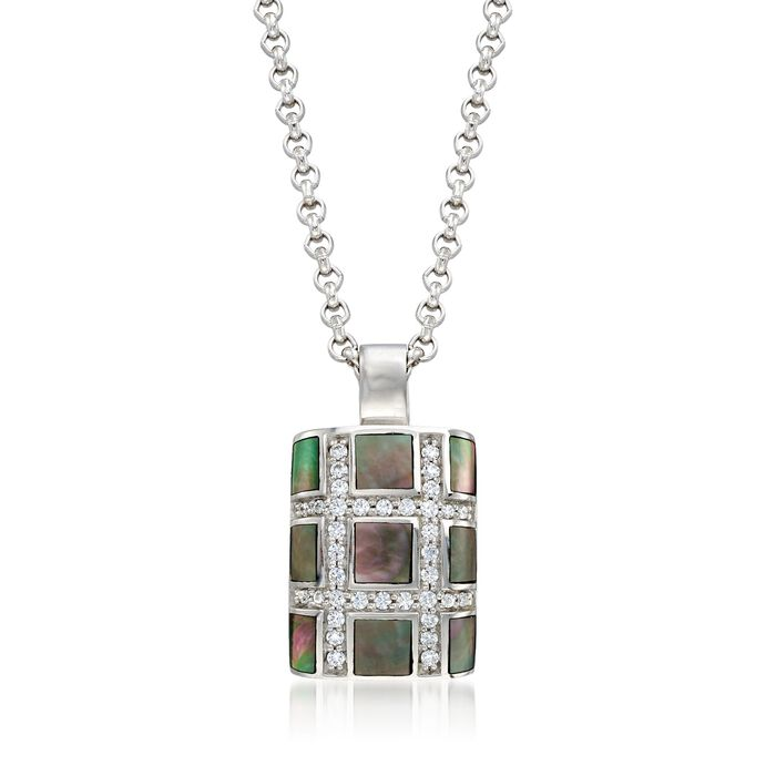 """Belle Etoile """"Regal"""" Black Mother-Of Pearl and .50 ct. t.w. CZ Pendant in Sterling Silver, , default"""