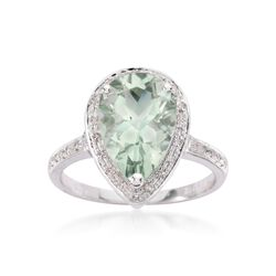2.80 Carat Green Prasiolite and .15 ct. t.w. Diamond Ring in 14kt White Gold, , default