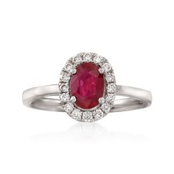 C. 2000 Vintage 1.07 Carat Ruby and .25 ct. t.w. Diamond Ring in 18kt White Gold. Size 6.5, , default