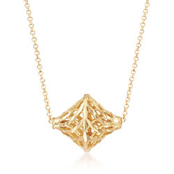 Italian 18kt Yellow Gold Openwork Cut-Out Geometric Necklace, , default