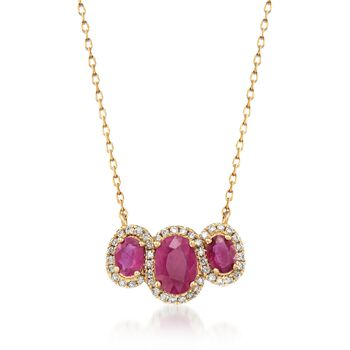1.70 ct. t.w. Burmese Ruby and .24 ct. t.w. Diamond Necklace in 14kt Yellow Gold, , default