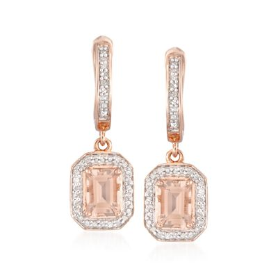 1.60 ct. t.w. Morganite Earrings with Diamonds in 14kt Rose Gold Over Sterling, , default