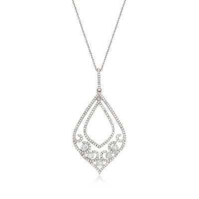 .47 ct. t.w. Diamond Double Teardrop Pendant Necklace in 14kt White Gold, , default
