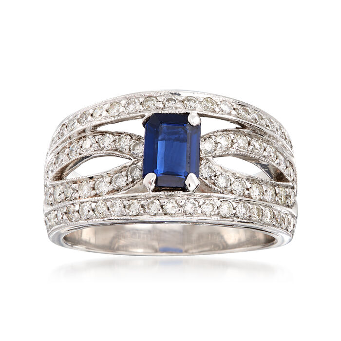 C. 1980 Vintage .85 Carat Sapphire and 1.10 ct. t.w. Diamond Ring in 14kt White Gold. Size 8.5