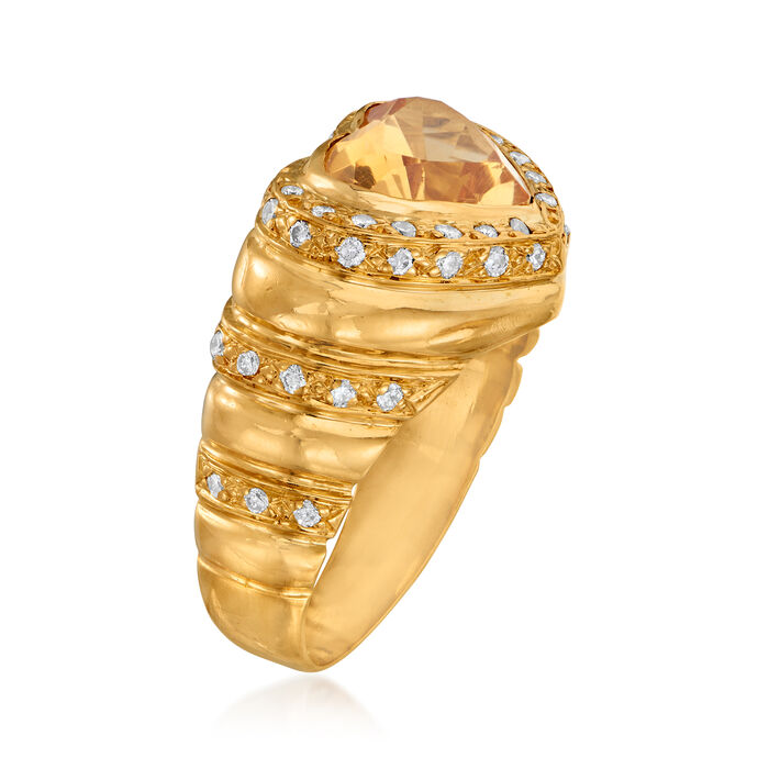 C. 1980 Vintage 1.50 Carat Citrine and .50 ct. t.w. Diamond Ring in 18kt Yellow Gold