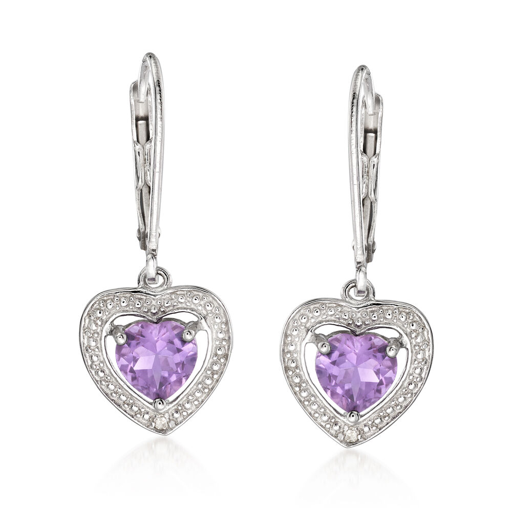 f138ad4a72b0f 1.10 ct. t.w. Amethyst Heart Drop Earrings With Diamond Accents in Sterling  Silver