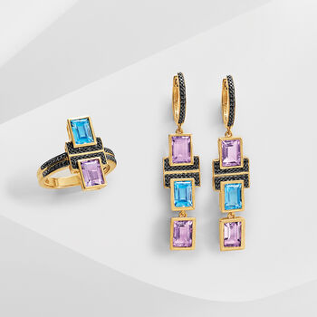 5.60 ct. t.w. Multi-Stone Drop Earrings in 18kt Gold Over Sterling, , default