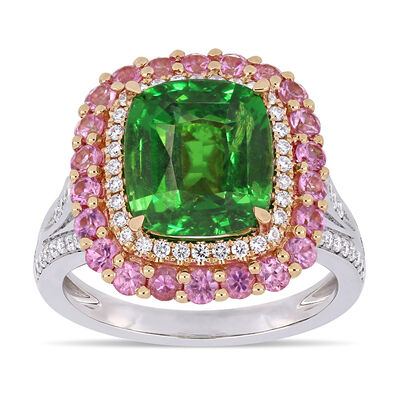 5.40 Carat Tsavorite, .90 ct. t.w. Pink Sapphire and .40 ct. t.w. Diamond Cocktail Ring in 14kt Two-Tone Gold, , default
