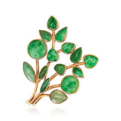 C. 1960 Vintage Jade Leaf Pin in 14kt Yellow Gold, , default