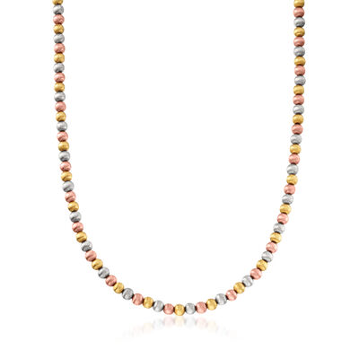 C. 1990 Vintage 14kt Tri-Colored Gold Bead Necklace, , default