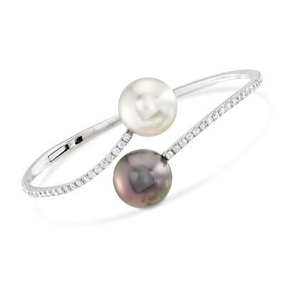 12-13mm Cultured South Sea and Tahitian Pearl Bypass Bracelet with 1.00 ct. t.w. Diamonds in 18kt White Gold