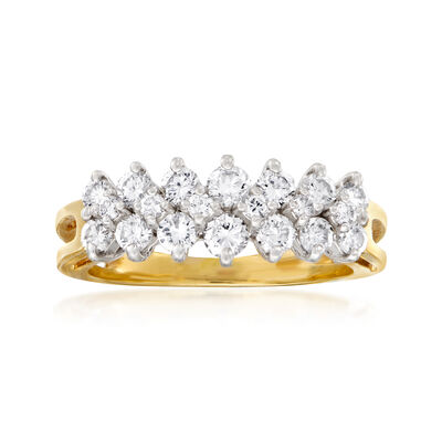 C. 1980 Vintage 1.00 ct. t.w. Diamond Double-Row Ring in 14kt Yellow Gold, , default