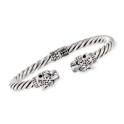 Cheetah Twisted Cuff Bangle Bracelet in Sterling Silver, , default