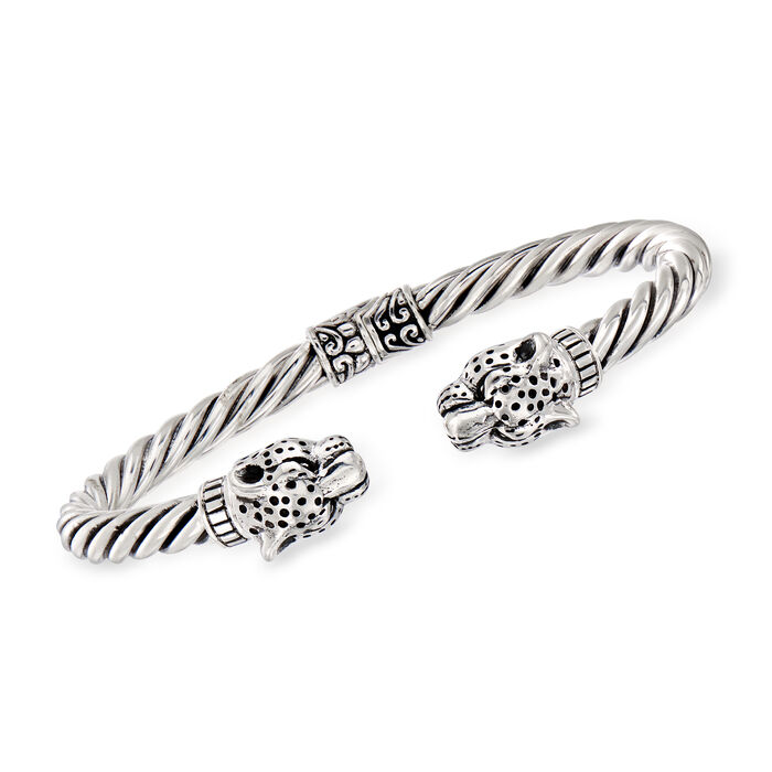 Cheetah Twisted Cuff Bangle Bracelet in Sterling Silver
