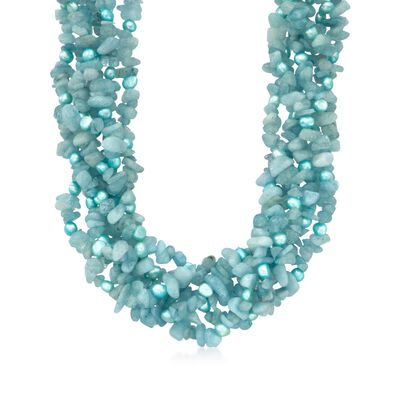 5-6mm Blue Cultured Pearl and Milky Aquamarine Torsade Necklace with Sterling Silver, , default