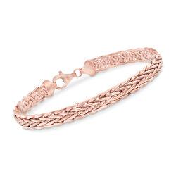 14kt Rose Gold Flat Wheat-Link Bracelet, , default