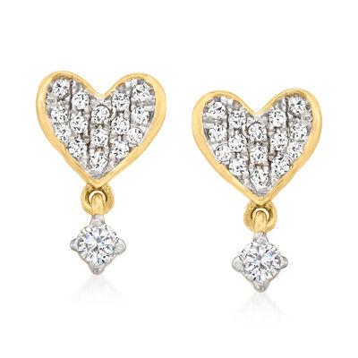 .15 ct. t.w. Diamond Heart Drop Earrings in 14kt Yellow Gold