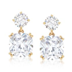8.20 ct. t.w. CZ Drop Earrings in 14kt Yellow Gold, , default
