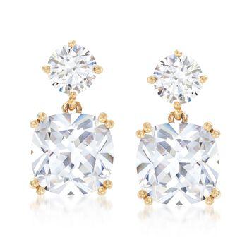 8.20 ct. t.w. CZ Drop Earrings in 14kt Yellow Gold, , default