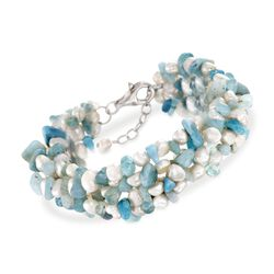 Aquamarine Bead and 5-6mm Cultured Pearl Bracelet With Sterling Silver, , default