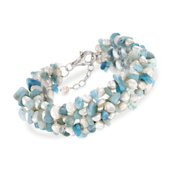 "Aquamarine Bead and 5-6mm Cultured Pearl Bracelet With Sterling Silver. 8"", , default"