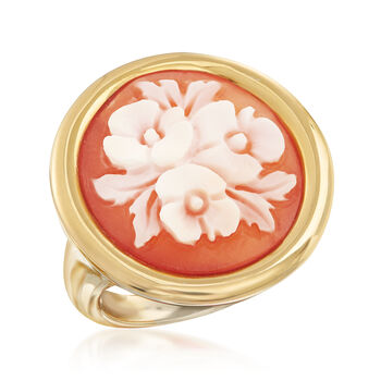 Italian Floral Shell Cameo Ring in 18kt Gold Over Sterling