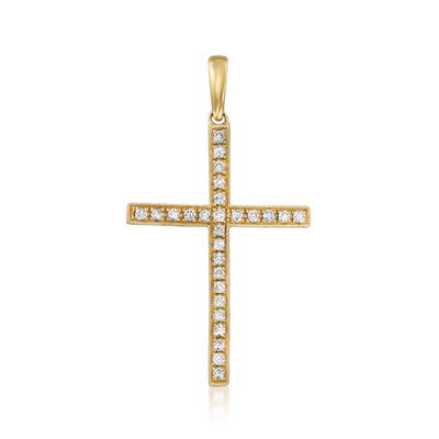 .30 ct. t.w. Diamond Cross Pendant in 18kt Yellow Gold, , default