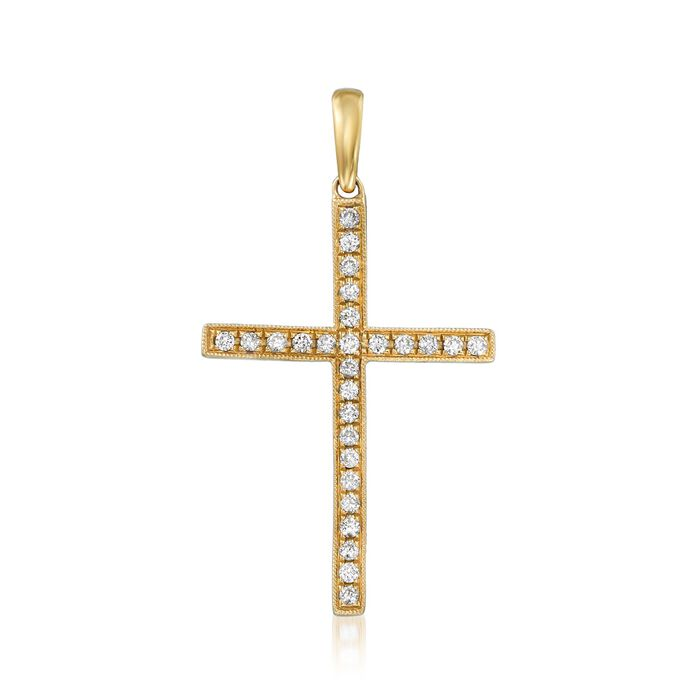.30 ct. t.w. Diamond Cross Pendant in 18kt Yellow Gold , , default