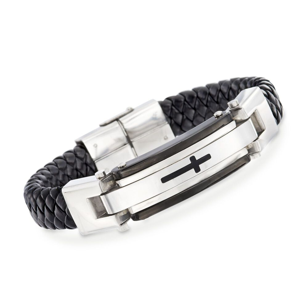 Men S Black Leather Cross Bracelet With Stainless Steel 8 5 Default