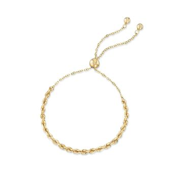 14kt Yellow Gold Rope Chain Bolo Bracelet, , default