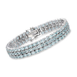 "27.00 ct. t.w. Blue Topaz Three-Row Bracelet in Sterling Silver. 8"", , default"