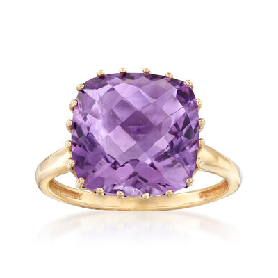 6.25 Carat Amethyst Ring in 14kt Yellow Gold, , default