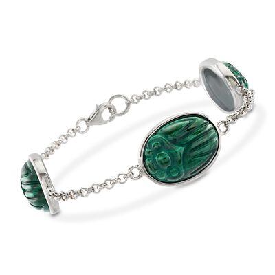Malachite Scarab Station Bracelet in Sterling Silver, , default