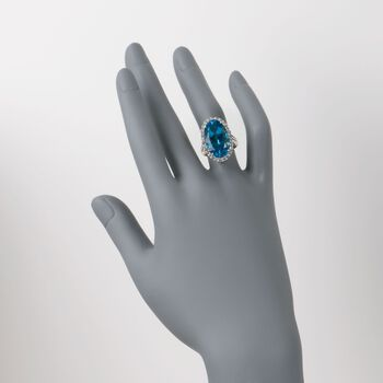 14.00 Carat Blue Topaz and .95 ct. t.w. White Topaz Ring in Sterling Silver, , default