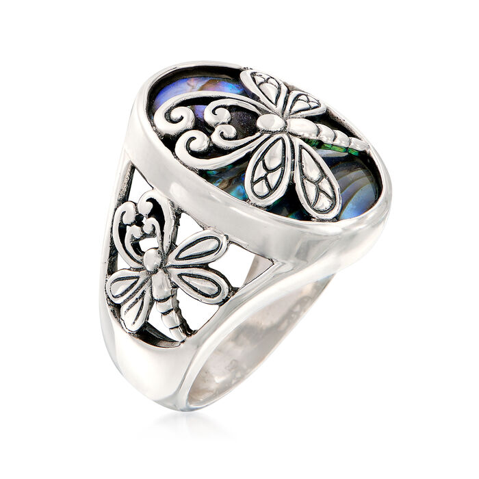 Abalone Shell and Sterling Silver Dragonfly Ring