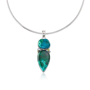 """Chrysocolla Pendant Necklace With Blue Topaz and Peridot in Sterling Silver. 18"""", , default"""