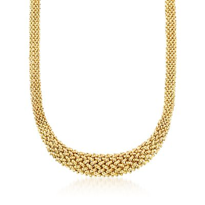 Italian 14kt Yellow Gold Graduated Riso Necklace, , default
