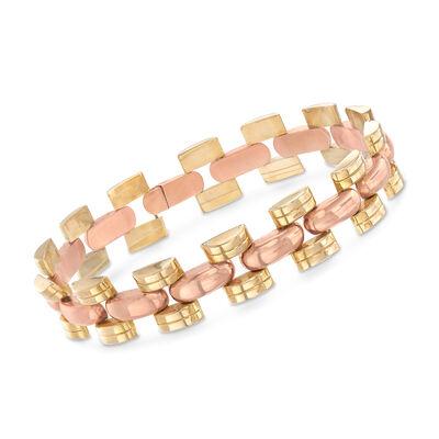 C. 1950 Vintage 14kt Two-Tone Gold Geometric-Link Bracelet, , default