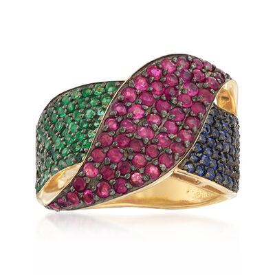 2.20 ct. t.w. Multi-Gem Ring in 18kt Gold Over Sterling, , default
