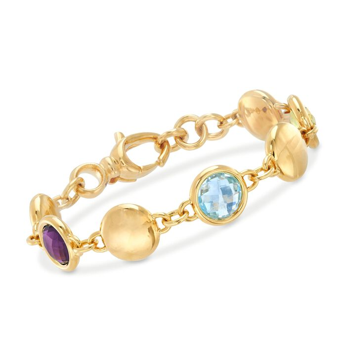 "Italian Andiamo 3.30 ct. t.w. Multi-Stone Bracelet in 14kt Yellow Gold. 8.5"", , default"