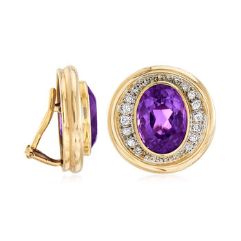 C. 1980 Vintage 11.80 ct. t.w. Amethyst and .50 ct. t.w. Diamond Clip-On Earrings in 14kt Yellow Gold, , default