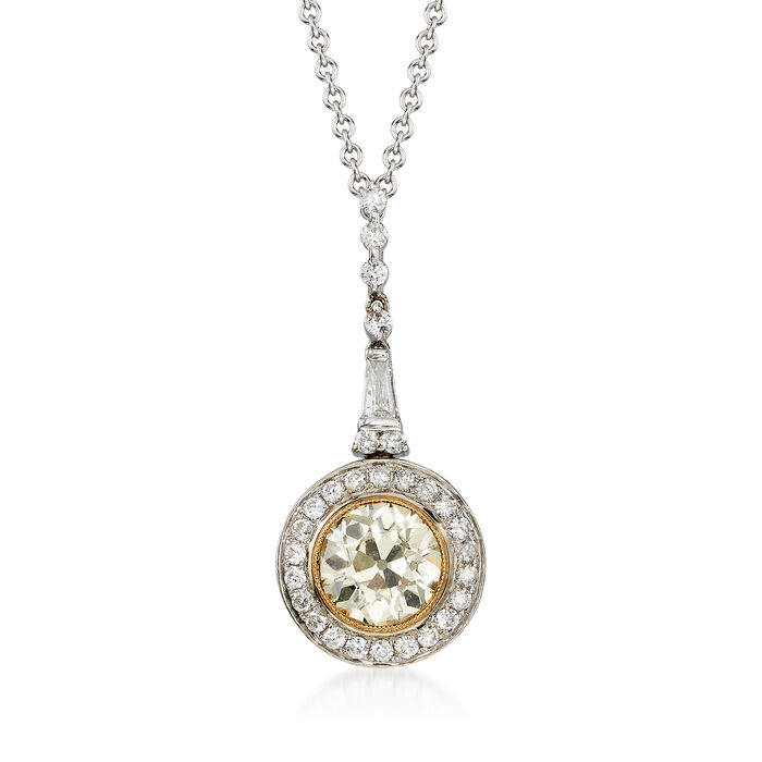 "C. 2000 Vintage 1.49 ct. t.w. Yellow and White Diamond Drop Pendant Necklace in 14kt White Gold. 16"", , default"